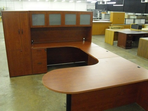 CHERRYMAN Furniture Amber bullet U desk w/ hutch and wardrobe