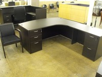 New Office Desks Cherryman Amber black bowfront